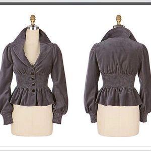 Anthropologie Elevenses Gray Velvet Jacket size 6
